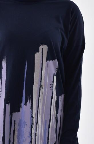 تونيك قطن بتصميم مُطبع 1051-01 لون كحلي 1051-01