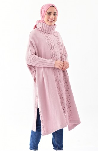 iLMEK Knitwear Tress Pattern Poncho 4109-06 Powder 4109-06