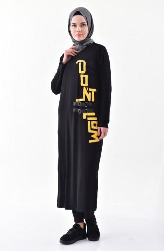 تونيك قطن طويل تصميم مُطبع 1025-01 لون اسود 1025-01