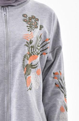 Embroidered Sweatshirt 2039-03 Gray 2039-03