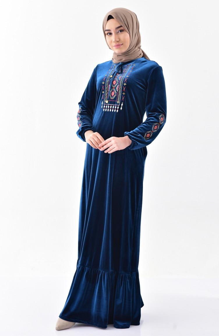 bc10f02dd فستان مخمل بتفاصيل مُطرزة 2073-03 لون بترولي 2073-03