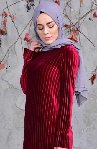 Pleated Velvet Dress 6066446-01 Claret Red 6066446-01