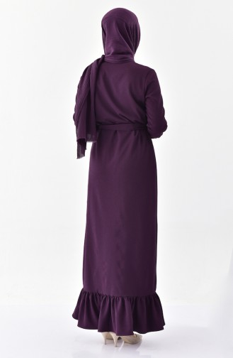 Buttoned Belted Dress 4433-02 Purple 4433-02