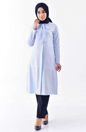 Kravat Yaka Tunik 1084-17 Bebe Mavi 1084-17