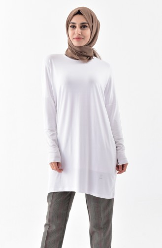 Doğal Kumaş Yarasa Kol Penye Tunik 1058-03 Beyaz 1058-03