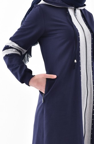 Stone Printed Tracksuit Suit 2038-01 Navy Blue 2038-01