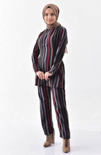 Striped Tunic Trousers Double Suit 1978-01 Black Yellow 1978-01