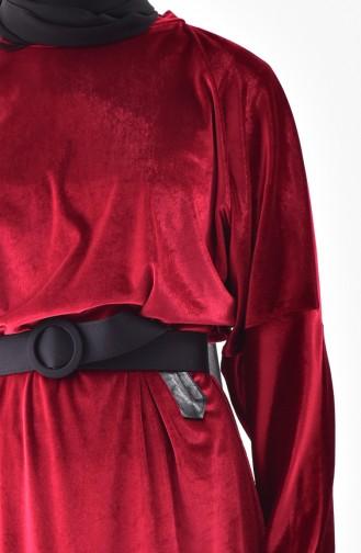 Bat Sleeve Velvet Tunic 5864-01 Burgundy 5864-01