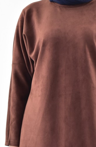 Bat Sleeve Suede Tunic 5865-10 Brown 5865-10