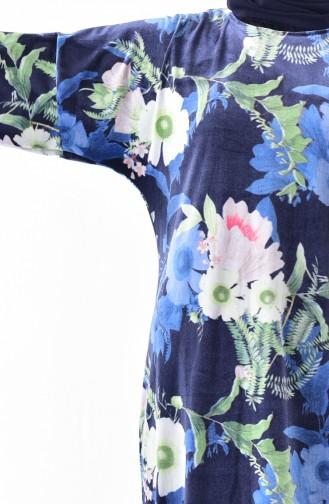 Floral Pattern Velvet Tunic 5866A-01 Navy Blue 5866A-01