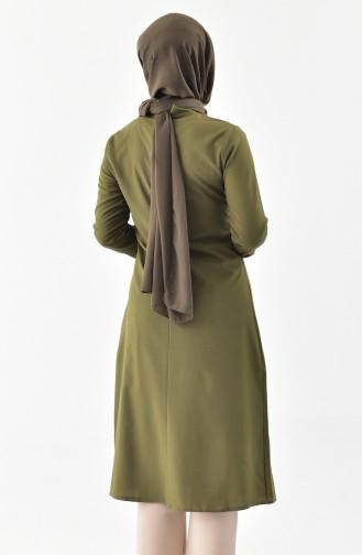 Kravat Yaka Tunik 1084-04 Haki Yeşil 1084-04