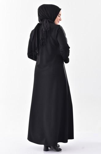 Deri Garnili Pardesü 1010-01 Siyah