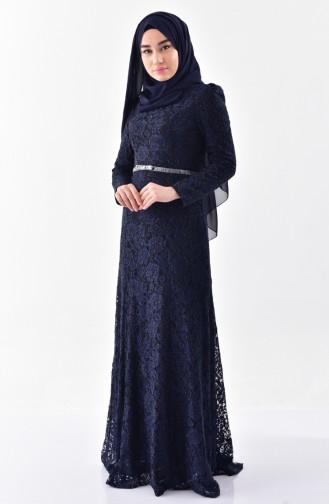 Navy Blue Islamic Clothing Evening Dress 3205-01