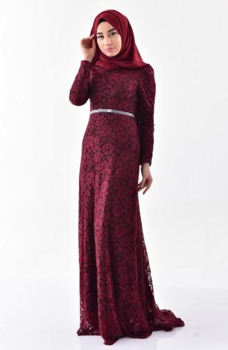 Claret red Islamic Clothing Evening Dress 3205-02