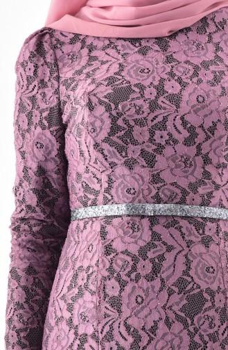 Dusty Rose Islamic Clothing Evening Dress 3205-04