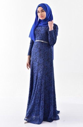 Lace Covering Belted Evening Dress 3205-05 Indigo 3205-05