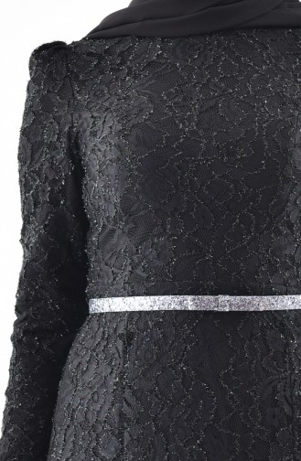 Black Islamic Clothing Evening Dress 3205-07