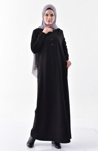 Bedrucktes Kleid aus Stein 2187-01 Schwarz 2187-01