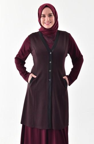 Plus Size Buttoned Vest 1072-03 Burgundy 1072-03