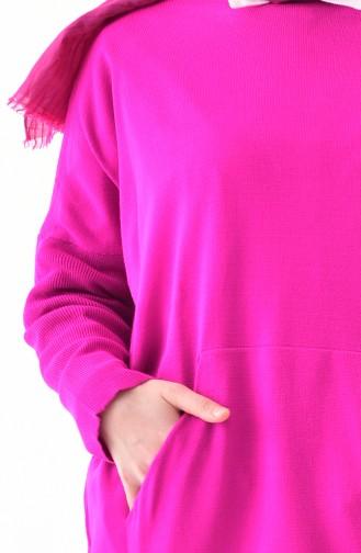 Langer Strickpullover 4710-06 Fuchsia 4710-06