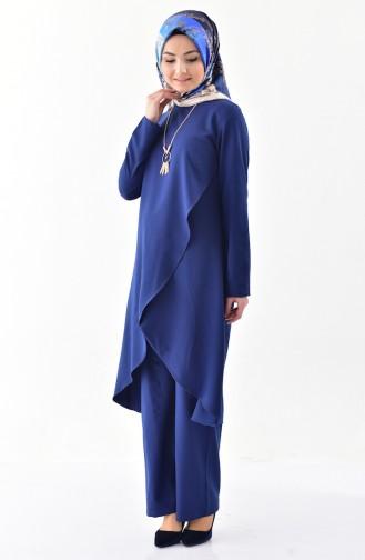 Kolyeli Tunik Pantolon İkili Takım 0115-01 Lacivert