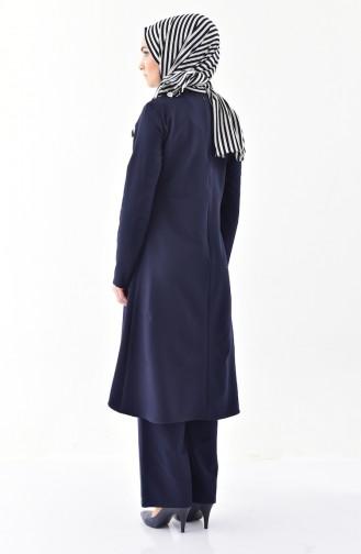 Kolyeli Tunik Pantolon İkili Takım 0115-02 Koyu Lacivert 0115-02
