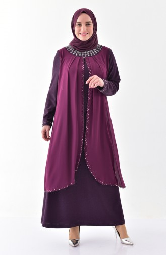 Plus size Pearl Evening Dress 3138-03 Damson 3138-03