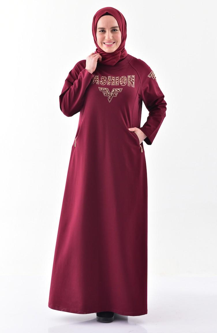 4b36f482079a7 Büyük Beden Taş Baskılı Spor Elbise 2064-02 Bordo 2064-02