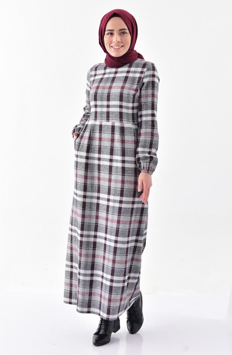 78b05d0b32016 Plaid Patterned Winter Dress 2042-02 BORDEAUX 2042-02