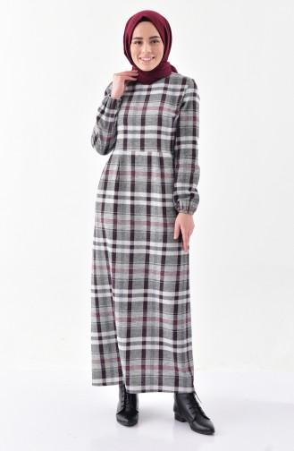 Plaid Patterned Winter Dress 2042-02 BORDEAUX 2042-02