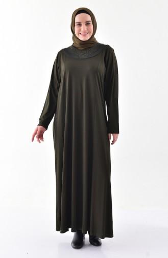 Plus size Patterned Dress 4841-04 Khaki 4841-04