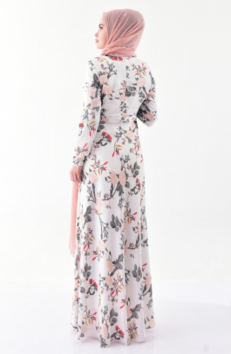 Casual Patterned Dress 8341-01 White 8341-01