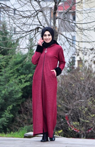 Abaya a Fourrure 99173-04 Bordeaux 99173-04
