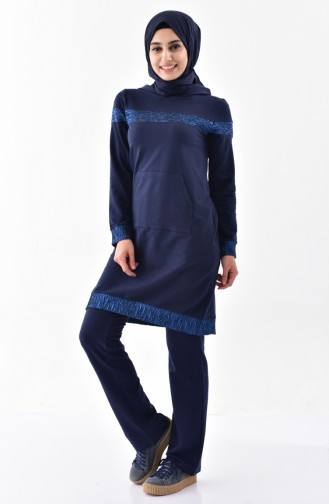 Sefamerve Hooded Tracksuit Suit 1408-02 Navy 1408-02