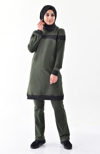 Sefamerve Hooded Tracksuit Suit 1408-04 Khaki 1408-04