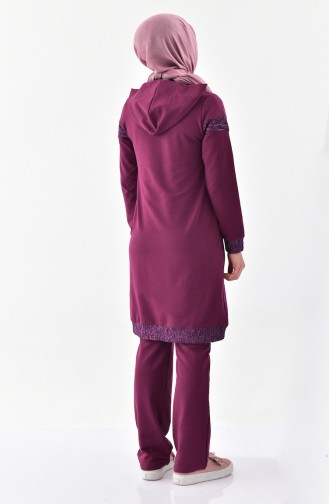 Sefamerve Hooded Tracksuit Suit 1408-05 Purple 1408-05