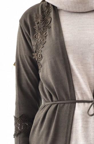 Lace Detailed Cardigan 0700-01 Khaki 0700-01