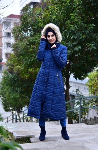 SUKRAN Pocketed Quilted Coat 35793-03 Lacivert 35793-03