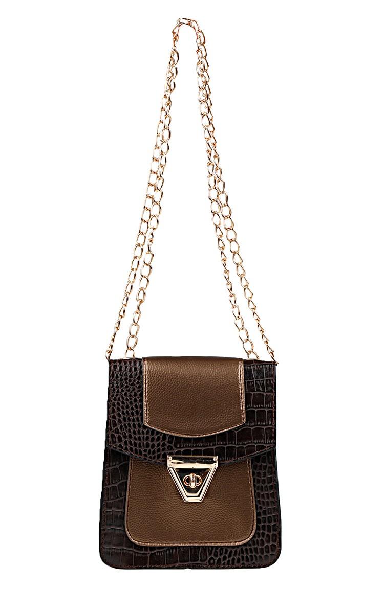 de26f23c9cf3b حقيبة كتف للنساء بتصميم مميز1011-01 لون بني داكن 1011-01