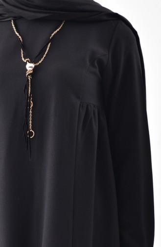 Eteği Fırfırlı Kolyeli Bluz 4401-01 Siyah