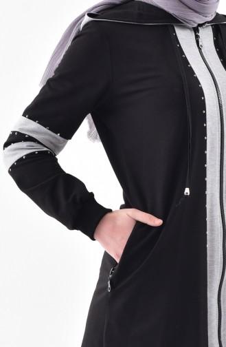 Stone Printed Tracksuit Suit 2038-02 Black 2038-02