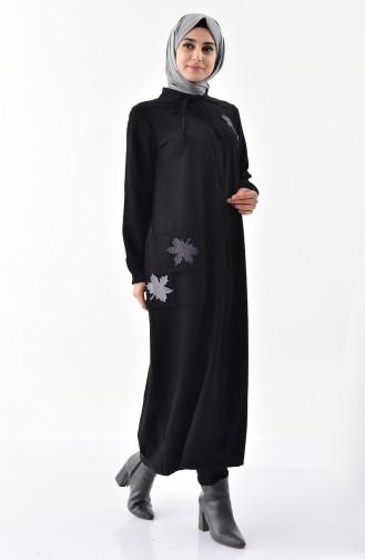 Abaya a Fermeture 49512-05 Noir 49512-05
