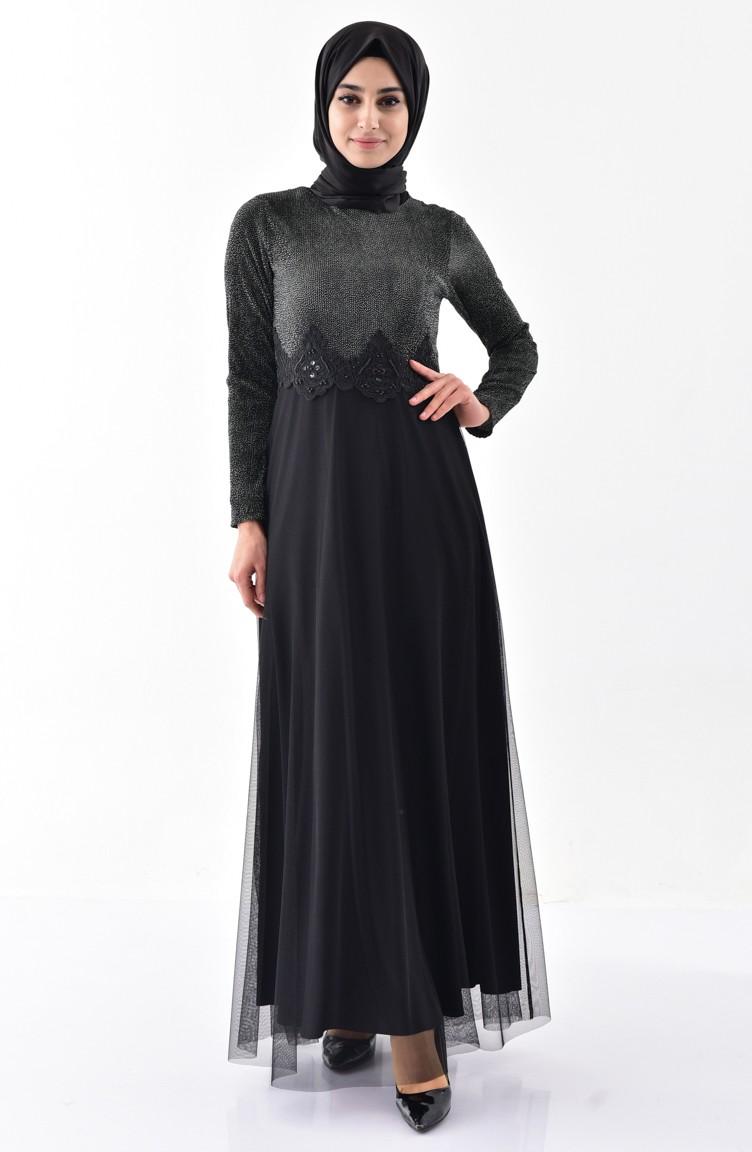 9d504069c41be Dantel Detaylı Elbise 3867B-01 Siyah