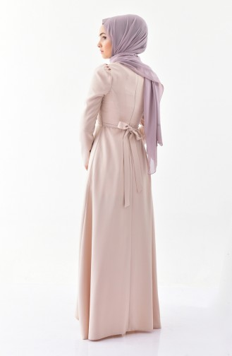 Stone Belted Dress 0207-02 Beige 0207-02