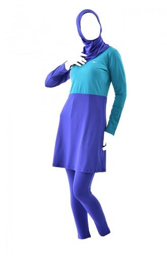 Maillot de Bain Islamique 287-02 Bleu Roi 287-02