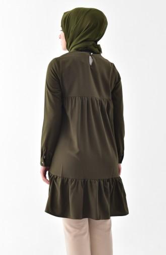 Blouse a Froufrous et Collier 4401-03 Vert Khaki 4401-03
