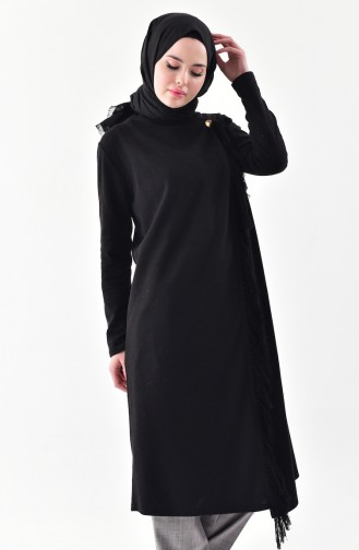 Front Crossed Tasseled Cape 4040-01 Black 4040-01