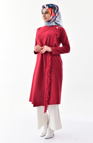 Front Crossed Tasseled Cape 4040-02 Claret Red  4040-02