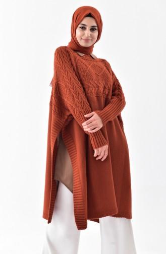 iLMEK Knitwear Bat Sleeve Poncho 4108-09 Taba 4108-09