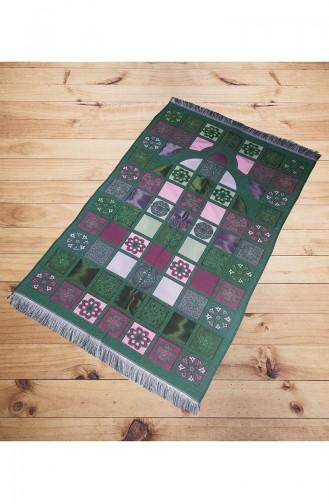 سجادة صلاة بتصميم مزخرف 2007-02 لون اخضر 2007-02